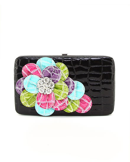 Black Wallet with Multi Color Bling Flower