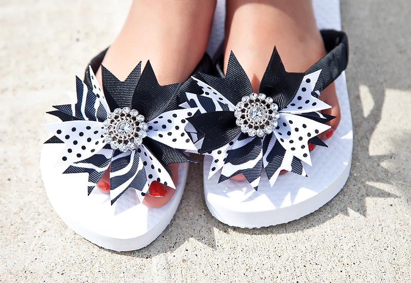 Girls Black and White Swiss Dot Flip Flops