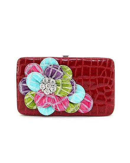 Red Multi Flower Bling Wallet