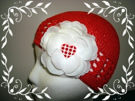 Red Beanie with Flower 1