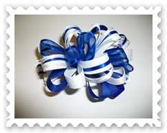 Navy/White Loopy Bow