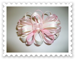 Pink/Cream Loopy Bow