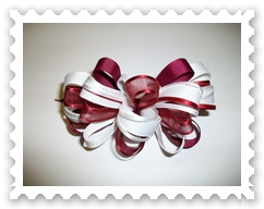 Cranberry/White Loopy Bow