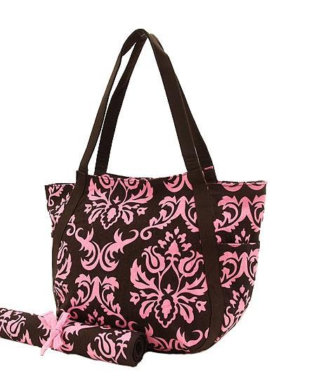 Brown & Pink Dasmak Canvas Round Large Diaper Bag