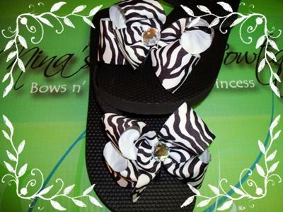Zebra Bow Bling Flip Flops