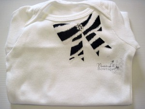 Zebra Bow Applique Set